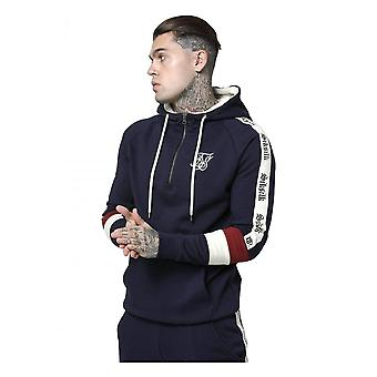 Sik Silk Borg Overhead 1/4 Zip Retro Tape Navy/red/off Whte