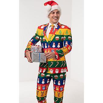 d/Spoke Mens Multicoloured Festive Wrapping Paper 2 Piece Christmas Suit