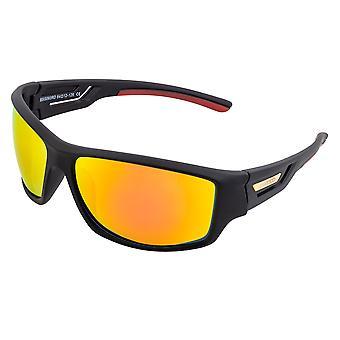 Raza Aquarius Polarizado Gafas de Sol - Negro / Rojo-Amarillo