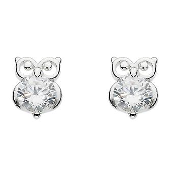Dew Silver Small Owl With White Cubic Zirconia Stud Earrings 3742CZ024