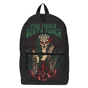 Five Finger Death Punch Backpack Lady Muerta Green Band Logo new Official Black