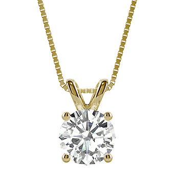 14K Yellow Gold Moissanite by Charles & Colvard Round Solitaire Pendant, 1.90ct DEW