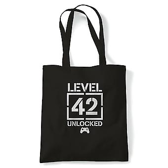 Level 42 Unlocked Video Game Birthday Tote | Age Related Year Birthday Novelty Gift Present | Reusable Shopping Cotton Canvas Long Handled Natural Shopper Eco-Friendly Fashion