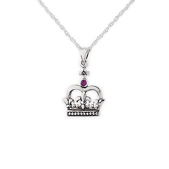 "Scotland Royalty Mary Stuart Queen Of Scots Crown Necklace Pendant - Ruby Colour Stone - Includes A 16"" Silver Chain"