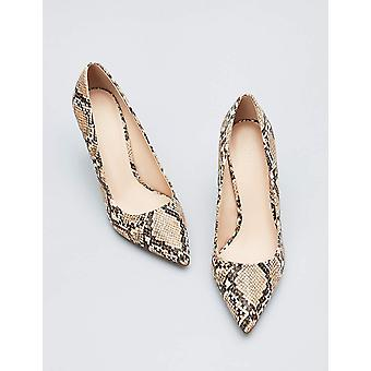 Amazon Brand - find. Women's Mary Jane Pump Brown Snake), US 8.5