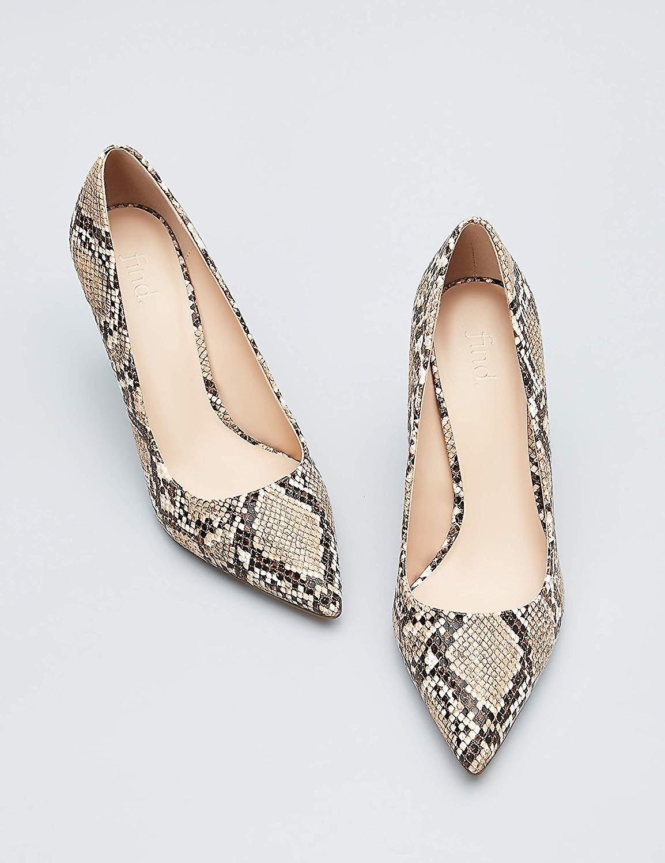 Brand - find. Women's Mary Jane Pump Brown Snake), US 8.5