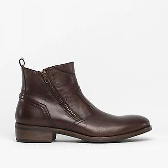 Machete Weston Mens Leather Zip Up Ankle Boots Brown