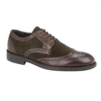 TredFlex Trebble Mens Leather Brogue Shoe Mocha Brown/olive