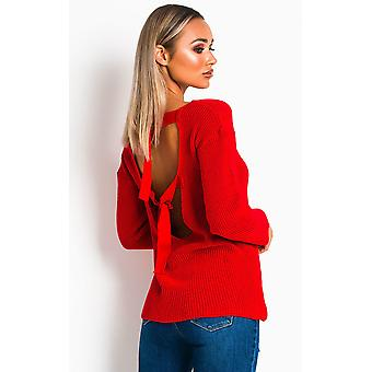 IKRUSH Womens Polly Knitted Scoop Tie Back Jumper