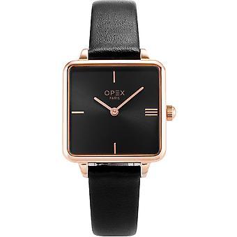Opex OPW043 Watch - SQUARE Black Leather Bracelet Bo tier Steel Dor pink Women