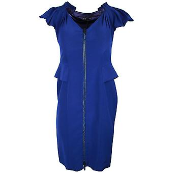Ferri Couture Blue Capped Sleeve Dress With Diamante Detail