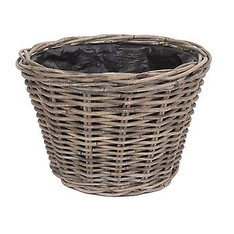 Small Tapered Rattan Round Planter with Plastic Lining