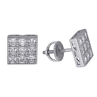 925 Sterling Silver Mens Womens Unisex Princess CZ Stud Square Cluster Fashion Earrings Measures 8 Jewelry Gifts for Men