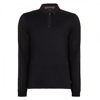 Ted Baker Mytype LS Zip Detail Polo Shirt Navy