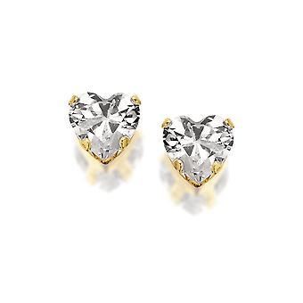 Eternity 9ct Gold Cubic Zirconia Heart Stud Boucles d'oreilles