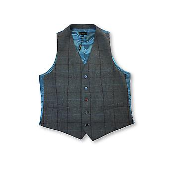 Holland Esquire waistcoat in grey/wine/blue window pane check