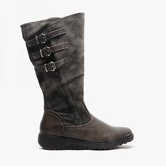 Cipriata Italania Ladies Triple Buckle High Leg Boot Grey
