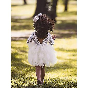 Topmaker Backless A-line Lace Back Flower Girl Dress (9-10Y, Sleeve-Ivory)