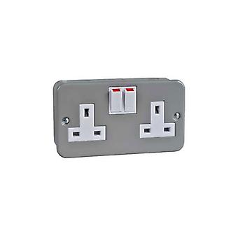 Schneider Electric GMC132SS 13A Metal Clad Twin Switched Socket