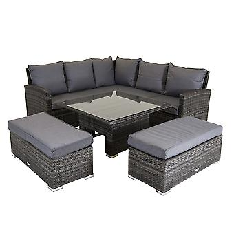 Charles Bentley Rattan Corner Lounge Set with Table Grey
