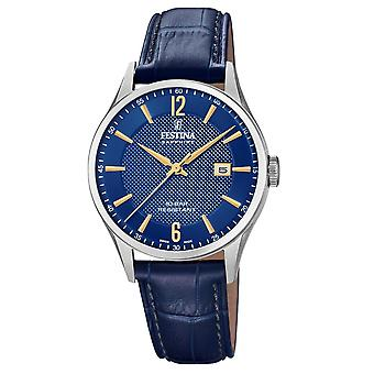 Festina Swiss F20007-3 Men's Swiss Made Blue Leather Wristwatch