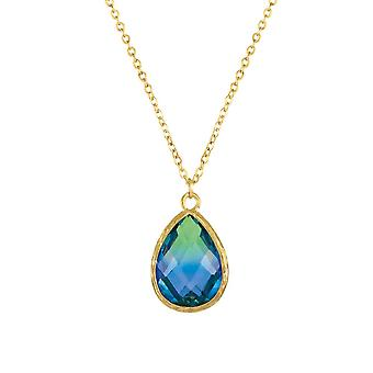 Eternal Collection Tenderness Green And Blue Two Tone Crystal Teardrop Pendant