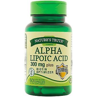 A verdade alfa ácido lipóico, 300 mg, mais otimizador de biotina, cápsulas, 60 ea