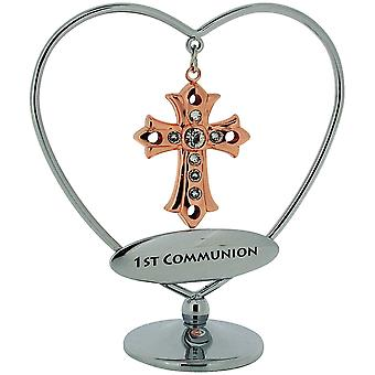 Crystocraft 1st Communion Rose Goldtone Cross Hanger Mobile on Silver Heart Base