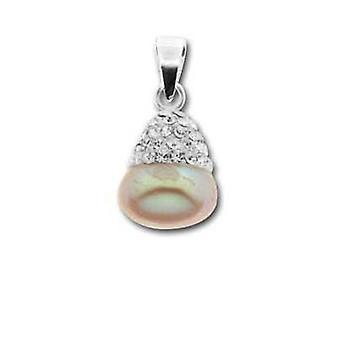 Toc Sterling Silver Pink Freshwater Pearl and Crystal Wedding Pendant