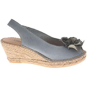 Azura Womens Flashback Gray Leather Peep Toe Casual Platform Sandals