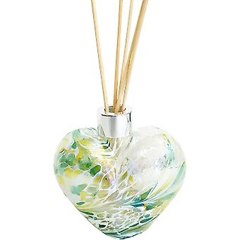 Heart Shaped Reed Diffuser Green White Yellow Crackle by Amelia Art Glass