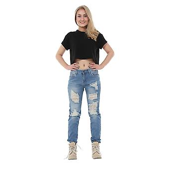 Ripped Distressed Frayed Slim Skinny Faded Jeans