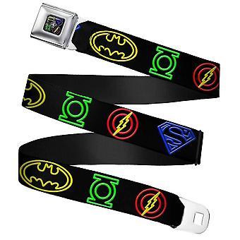 Justice League Electric Neon Logos Webbing Seatbelt Buckle Belt