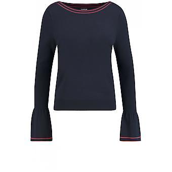 Taifun Navy Bell-Sleeve Sweater