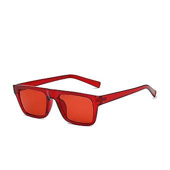 Rode klassieke vierkante zonnebril in retro stijl