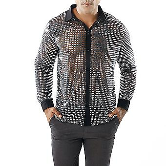 Allthemen Men's Sequin Shirt Lapel Loose Long Sleeve Shirt
