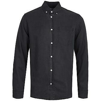 NN07 Levon 5767 Button Down Garment Dyed Black Long Sleeve Shirt