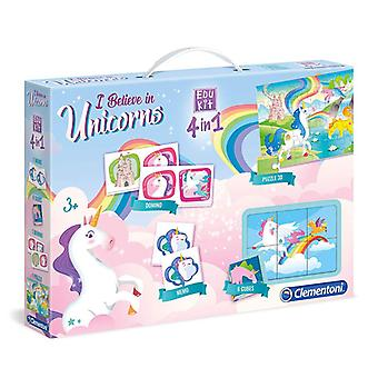 Set of 4 Games Edukit Clementoni Unicorn