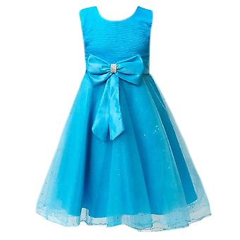 Girls Aqua Wedding, Party,Prom,Bridesmaid dress with a big bow