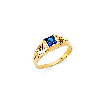 14k Yellow Gold CZ Cubic Zirconia Simulated Diamond Boys and Girls Ring Size 3 - .8 Grams