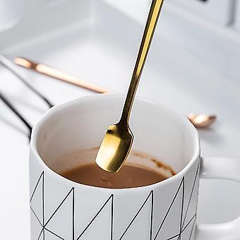 Long Square Spoon Bestik - Rustfrit stål Runde Tea Kaffe Spoon Til yoghurt,
