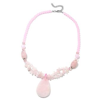 Bead Strand Rose Quartz Necklace Pink Glass, Resin, 450.002 Ct TJC