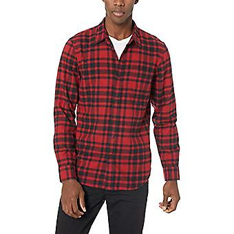 Goodthreads Men's Slim-Fit Langarm gebürstet Flanell Shirt, -rot/schwarz plai...