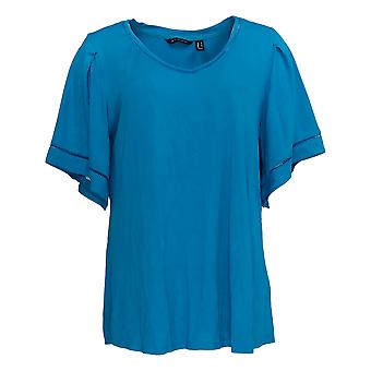 H by Halston Women's Top Knit Crepe V-Neck w/ Flutter Sleeves Blue A311460