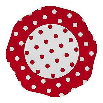 Czerwone kropki 27cm w kształcie papieru Talerze party