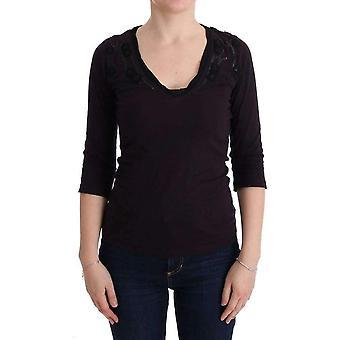 Camiseta de algodão de gola V roxa
