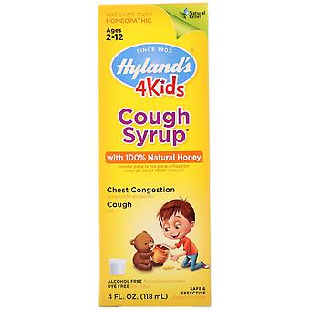 Hyland's, 4 Kids, Cough Syrup with 100% Natural Honey, Ages 2-12, 4 fl oz (118 m