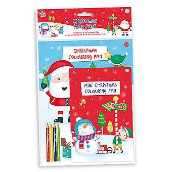 Childrens Christmas Play Pack Colouring Pads Pencils