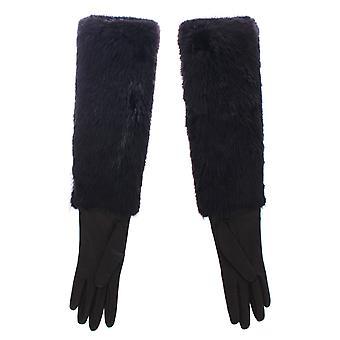 Dolce & Gabbana schwarz Biber Pelz Lammfell Leder Ellenbogen Handschuhe MOM11432-2