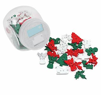 75g Mixed Size and Shade Buttons for Crafts - Christmas Shapes